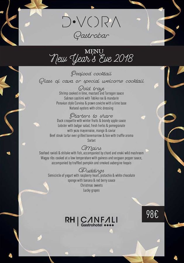 New Year's Eve Menu at the Gastrohotel Canfali